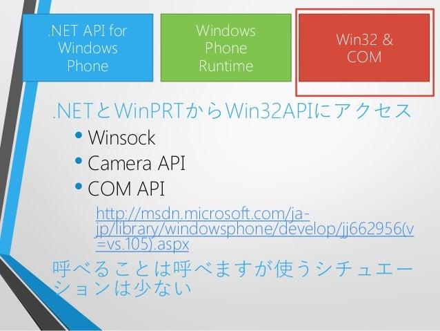 .NETとWinPRTからWin32APIにアクセス• Winsock• Camera API• COM APIhttp://msdn.microsoft.com/ja-jp/library/windowsphone/develop/jj662...