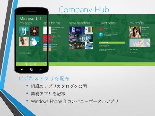 Company Hubビジネスアプリを配布• 組織のアプリカタログを公開• 業務アプリを配布• Windows Phone 8 カンパニーポータルアプリ