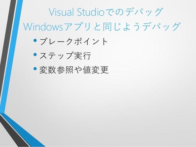 Visual StudioでのデバッグWindowsアプリと同じようデバッグ•ブレークポイント•ステップ実行•変数参照や値変更