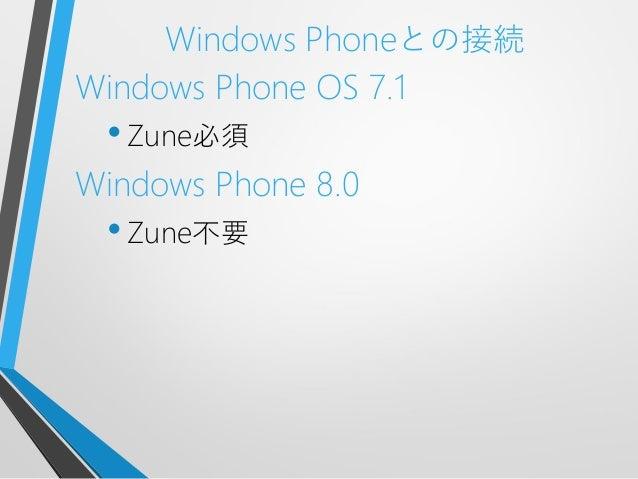 Windows Phoneとの接続Windows Phone OS 7.1•Zune必須Windows Phone 8.0•Zune不要