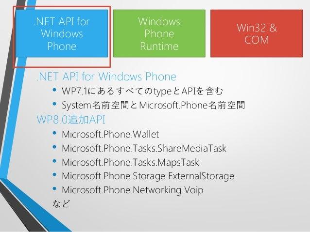 .NET API for Windows Phone• WP7.1にあるすべてのtypeとAPIを含む• System名前空間とMicrosoft.Phone名前空間WP8.0追加API• Microsoft.Phone.Wallet• Mic...
