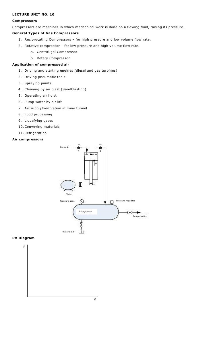 LECTURE UNIT NO. 10CompressorsCompressors are machines in which mechanical work is done on a flowing fluid, raising its pr...