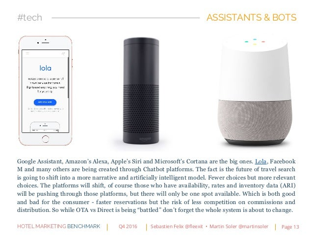 Google Assistant, Amazon's Alexa, Apple's Siri and Microsoft's Cortana are the big ones. Lola, Facebook M and many others ...