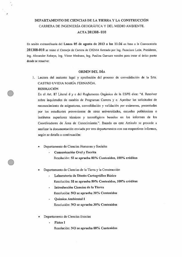 DEPARTAMENTO DE CIENCIAS DE LA TIERRA Y LA CONSTRUCCIÓN CARRERA DE INGENIERÍA GEOGRÁFICA Y DEL MEDIO AMBIENTE.   ACTA 2013...