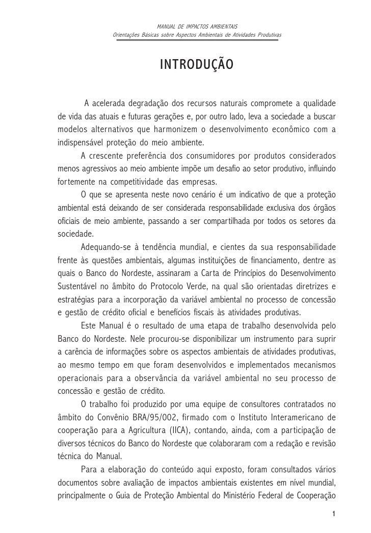 MANUAL DE IMPACTOS AMBIENTAIS                Orientações Básicas sobre Aspectos Ambientais de Atividades Produtivas       ...
