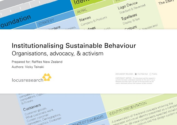Institutionalising Sustainable Behaviour organisations, advocacy, & activism Prepared for: Raffles new Zealand authors: Vi...