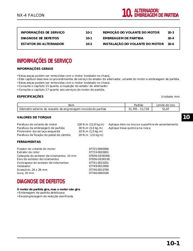 ALTERNADOR/ EMBREAGEM DE PARTIDA10. INFORMAÇÕES DE SERVIÇO 10-1 DIAGNOSE DE DEFEITOS 10-1 ESTATOR DO ALTERNADOR 10-2 REMOÇ...