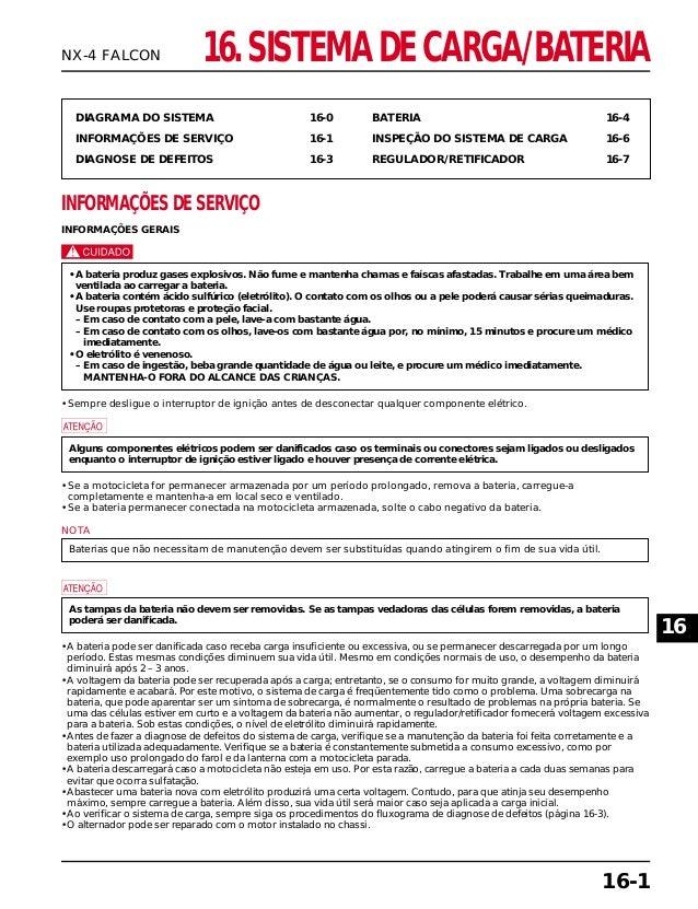 16. SISTEMA DE CARGA/BATERIA DIAGRAMA DO SISTEMA 16-0 INFORMAÇÕES DE SERVIÇO 16-1 DIAGNOSE DE DEFEITOS 16-3 BATERIA 16-4 I...
