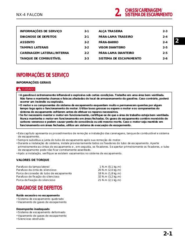 CHASSI/CARENAGEM/ SISTEMA DE ESCAPAMENTO2. INFORMAÇÕES DE SERVIÇO 2-1 DIAGNOSE DE DEFEITOS 2-1 ASSENTO 2-2 TAMPAS LATERAIS...