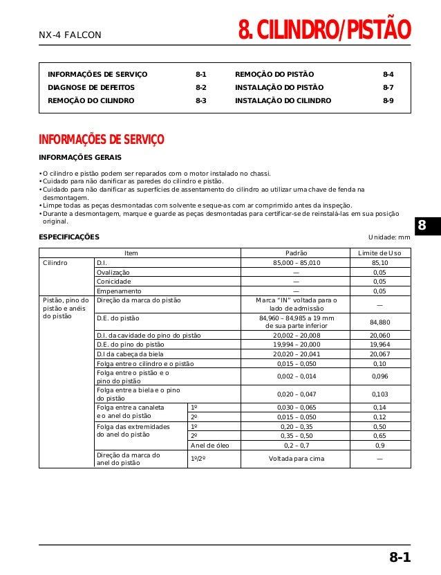 8. CILINDRO/PISTÃO INFORMAÇÕES DE SERVIÇO 8-1 DIAGNOSE DE DEFEITOS 8-2 REMOÇÃO DO CILINDRO 8-3 REMOÇÃO DO PISTÃO 8-4 INSTA...