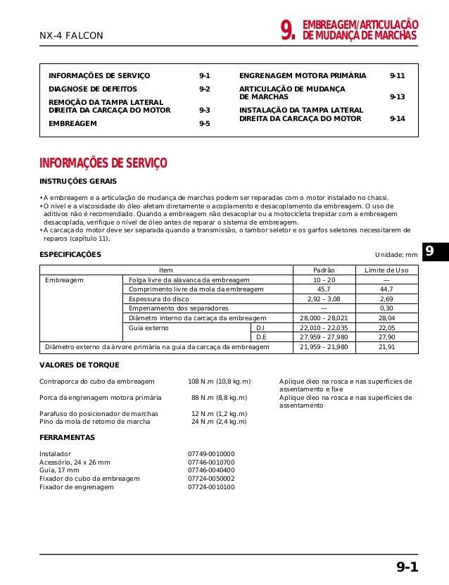 EMBREAGEM/ARTICULAÇÃO DE MUDANÇA DE MARCHAS9. INFORMAÇÕES DE SERVIÇO 9-1 DIAGNOSE DE DEFEITOS 9-2 REMOÇÃO DA TAMPA LATERAL...