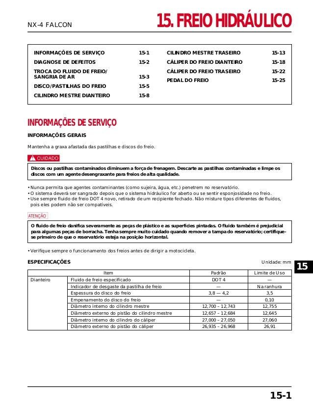 INFORMAÇÕES DE SERVIÇO 15-1 DIAGNOSE DE DEFEITOS 15-2 TROCA DO FLUIDO DE FREIO/ SANGRIA DE AR 15-3 DISCO/PASTILHAS DO FREI...