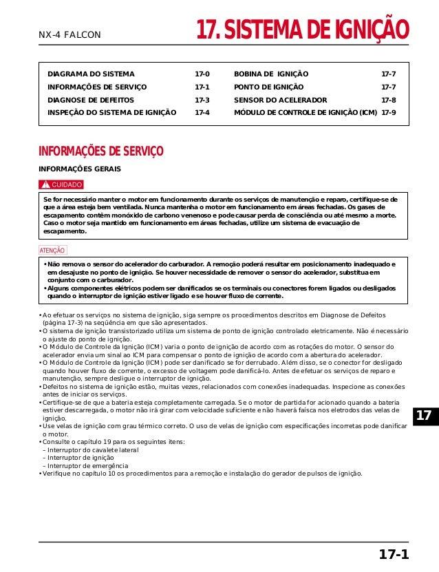 17. SISTEMA DE IGNIÇÃO DIAGRAMA DO SISTEMA 17-0 INFORMAÇÕES DE SERVIÇO 17-1 DIAGNOSE DE DEFEITOS 17-3 INSPEÇÃO DO SISTEMA ...