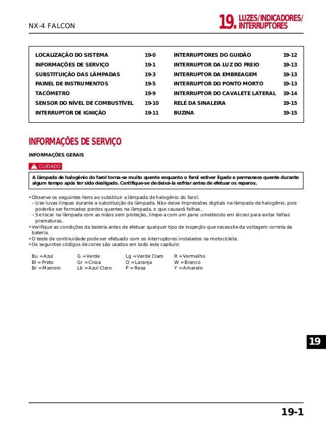 LUZES/INDICADORES/ INTERRUPTORES19. LOCALIZAÇÃO DO SISTEMA 19-0 INFORMAÇÕES DE SERVIÇO 19-1 SUBSTITUIÇÃO DAS LÂMPADAS 19-3...