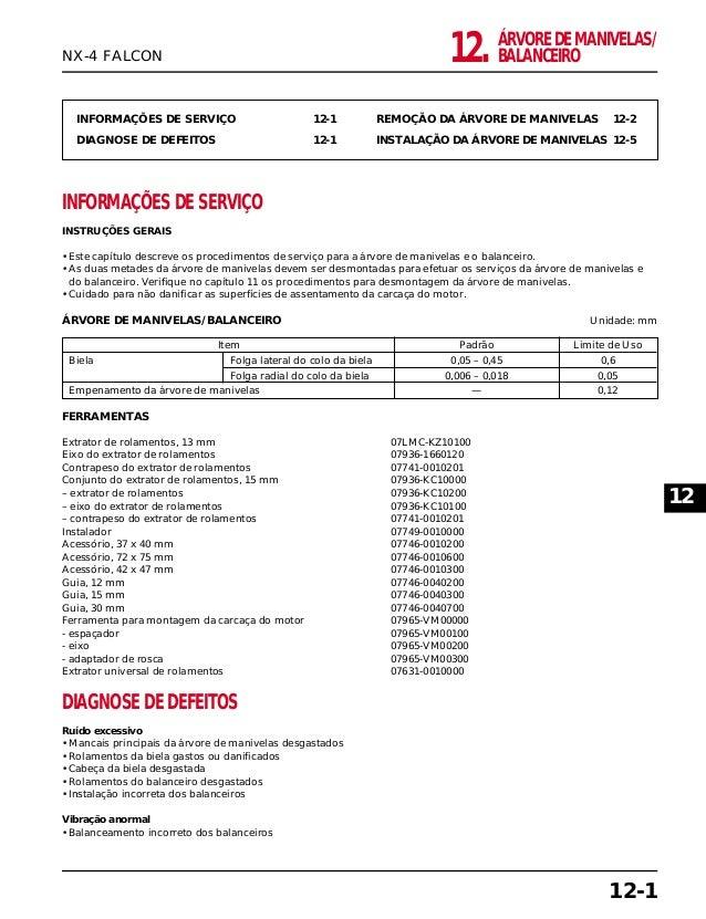 ÁRVORE DE MANIVELAS/ BALANCEIRO12. INFORMAÇÕES DE SERVIÇO 12-1 DIAGNOSE DE DEFEITOS 12-1 REMOÇÃO DA ÁRVORE DE MANIVELAS 12...