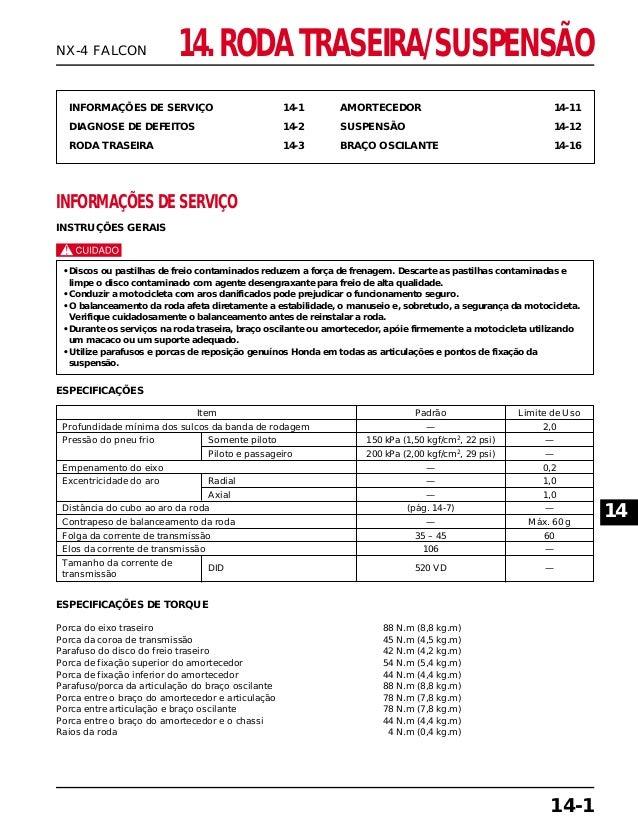 14. RODA TRASEIRA/SUSPENSÃO INFORMAÇÕES DE SERVIÇO 14-1 DIAGNOSE DE DEFEITOS 14-2 RODA TRASEIRA 14-3 AMORTECEDOR 14-11 SUS...