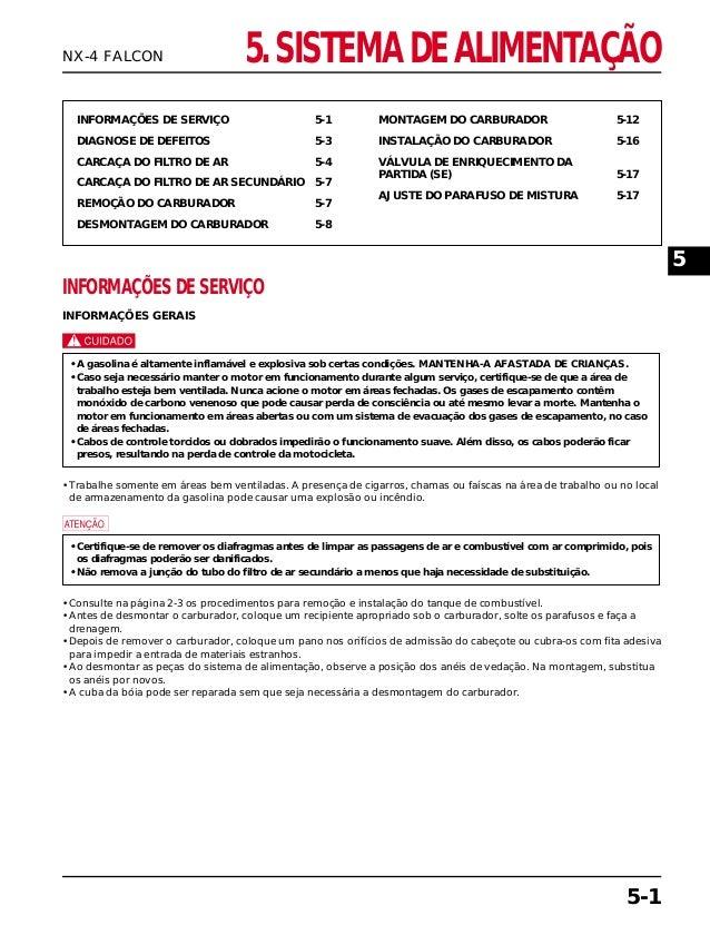 5. SISTEMA DE ALIMENTAÇÃO INFORMAÇÕES DE SERVIÇO 5-1 DIAGNOSE DE DEFEITOS 5-3 CARCAÇA DO FILTRO DE AR 5-4 CARCAÇA DO FILTR...