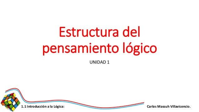 Carlos Massuh Villavicencio.1.1 Introducción a la Lógica: Estructura del pensamiento lógico UNIDAD 1