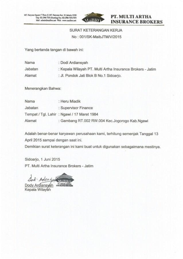 Surat Pengalaman Kerja Supervisor Finance