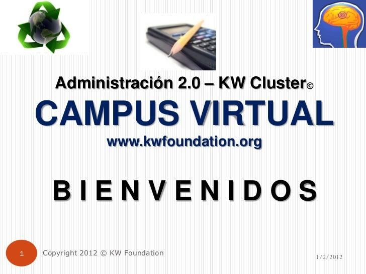 Administración 2.0 – KW Cluster©    CAMPUS VIRTUAL                   www.kwfoundation.org      BIENVENIDOS1   Copyright 20...