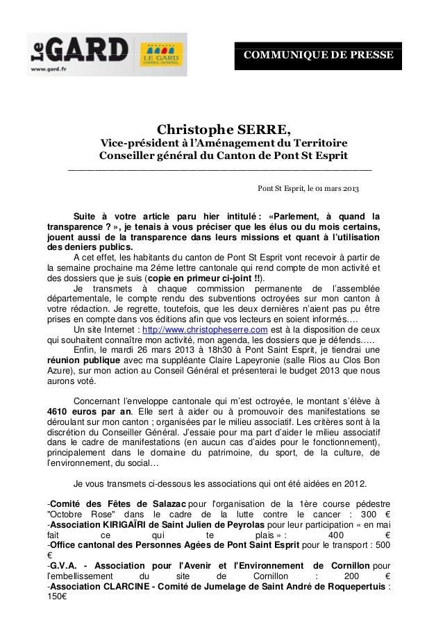 COMMUNIQUE DE PRESSE                            Christophe SERRE,             Vice-président à l'Aménagement du Territoire...