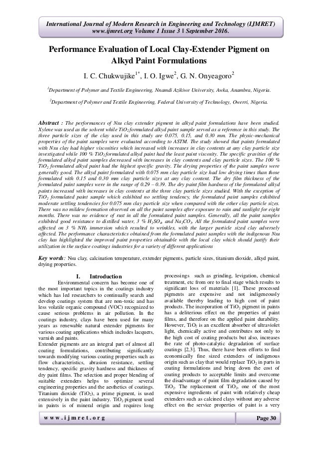 Performance Evaluation of Local Clay-Extender Pigment on