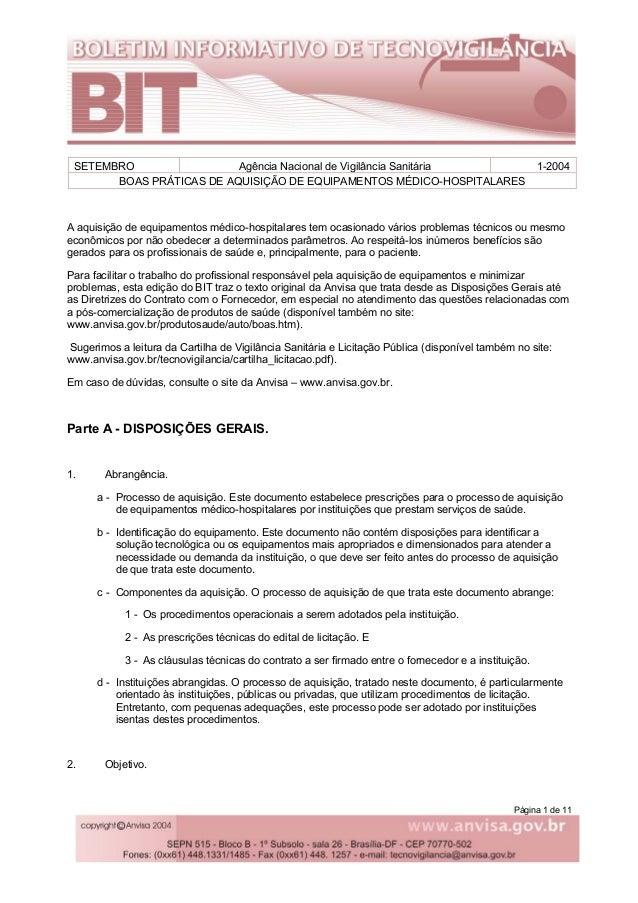 Página 1 de 11 SETEMBRO Agência Nacional de Vigilância Sanitária 1-2004 BOAS PRÁTICAS DE AQUISIÇÃO DE EQUIPAMENTOS MÉDICO-...