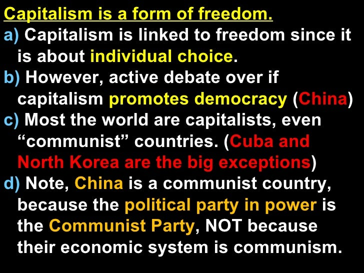 capitalism and freedom term paper Even so, many preferred to use such terms as free enterprise or the competitive system it is only since the 1960s that capitalism has come to be used by both sides of in this process was the publication in 1962 of milton friedman's capitalism and freedom, one of the first popular books to employ the term in an unabashedly positive way.