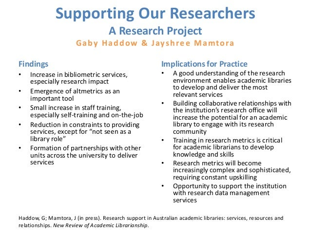 Supporting Our Researchers A Research Project Gaby Haddow & Jayshree Mamtora Findings • Increase in bibliometric services,...