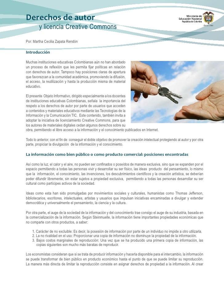 Derechos de autor          y licencia Creative Commons Por: Martha Cecilia Zapata Rendón  Introducción  Muchas institucion...