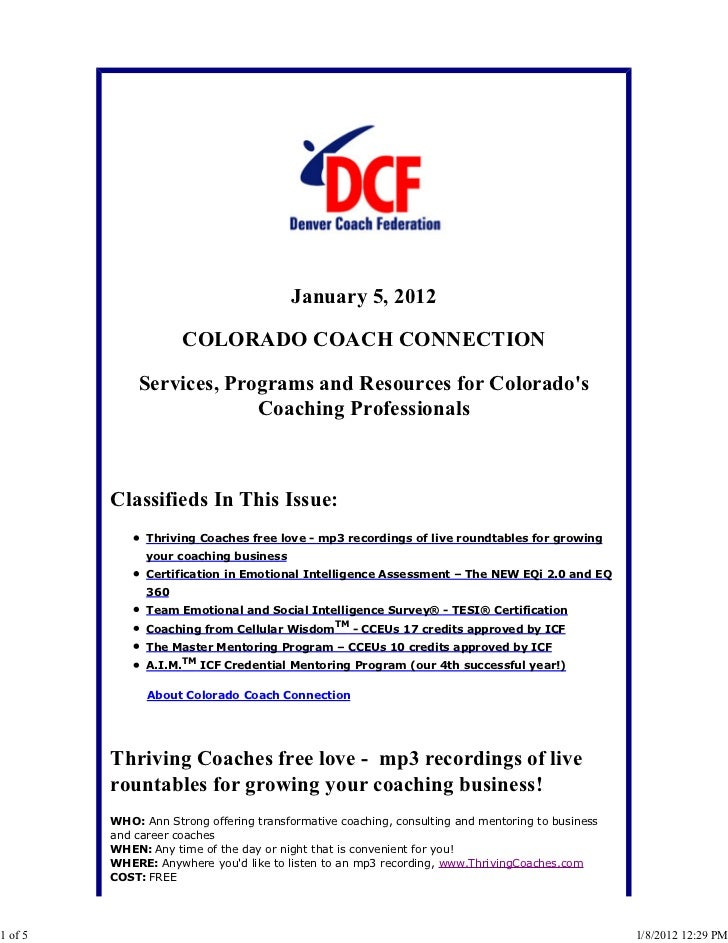 January 5, 2012                     COLORADO COACH CONNECTION             Services, Programs and Resources for Colorados  ...