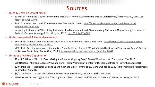 ©2016-Allrightsreserved. Sources • Huge&GrowingUnmetNeed • 50MillionAmericans&100+AutoimmuneDisease–...