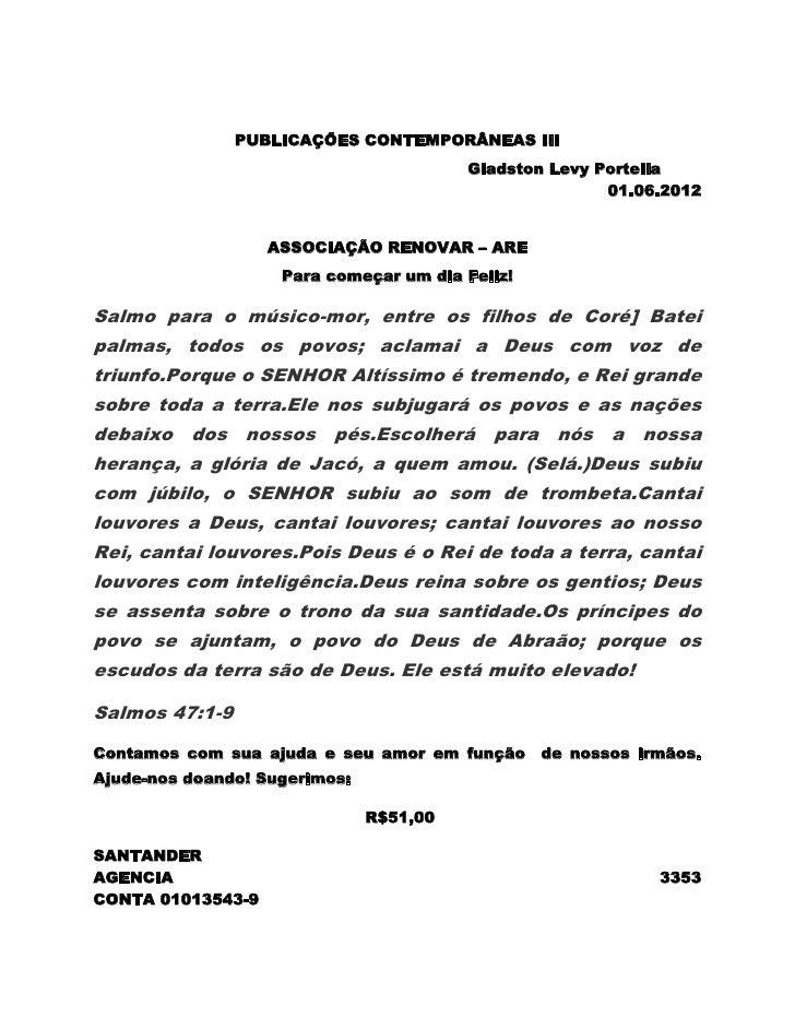 PUBLICAÇÕES CONTEMPORÂNEAS III                                         Gladston Levy Portella                             ...
