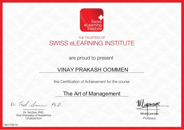 VINAY PRAKASH OOMMEN The Art of Management 06/17/2014
