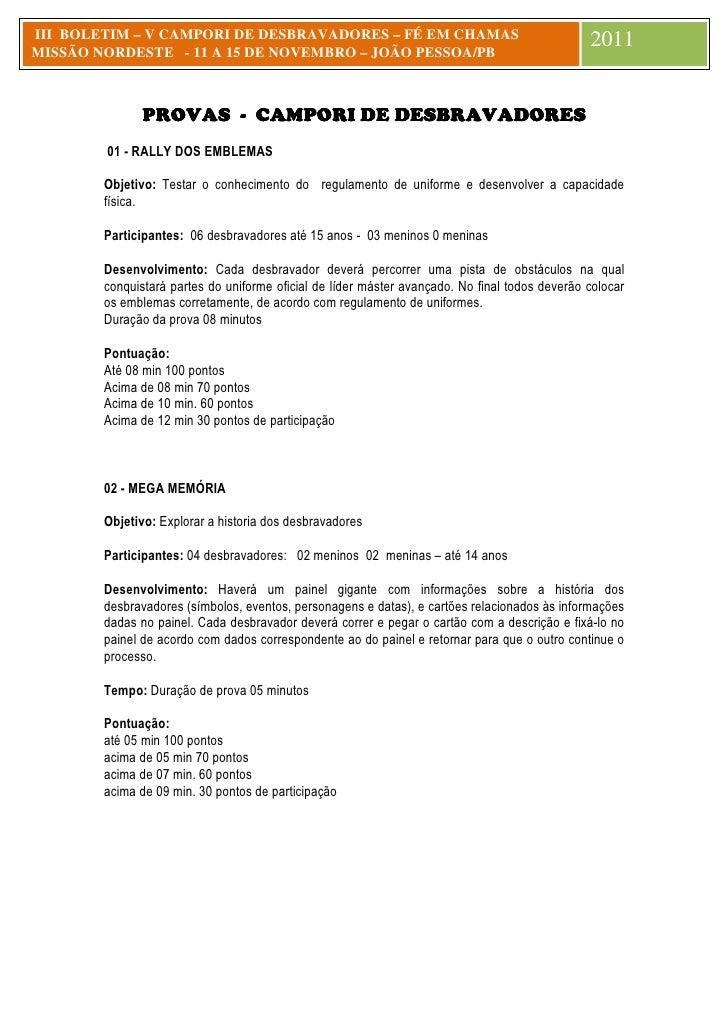 III BOLETIM – V CAMPORI DE DESBRAVADORES – FÉ EM CHAMAS                                         2011MISSÃO NORDESTE - 11 A...