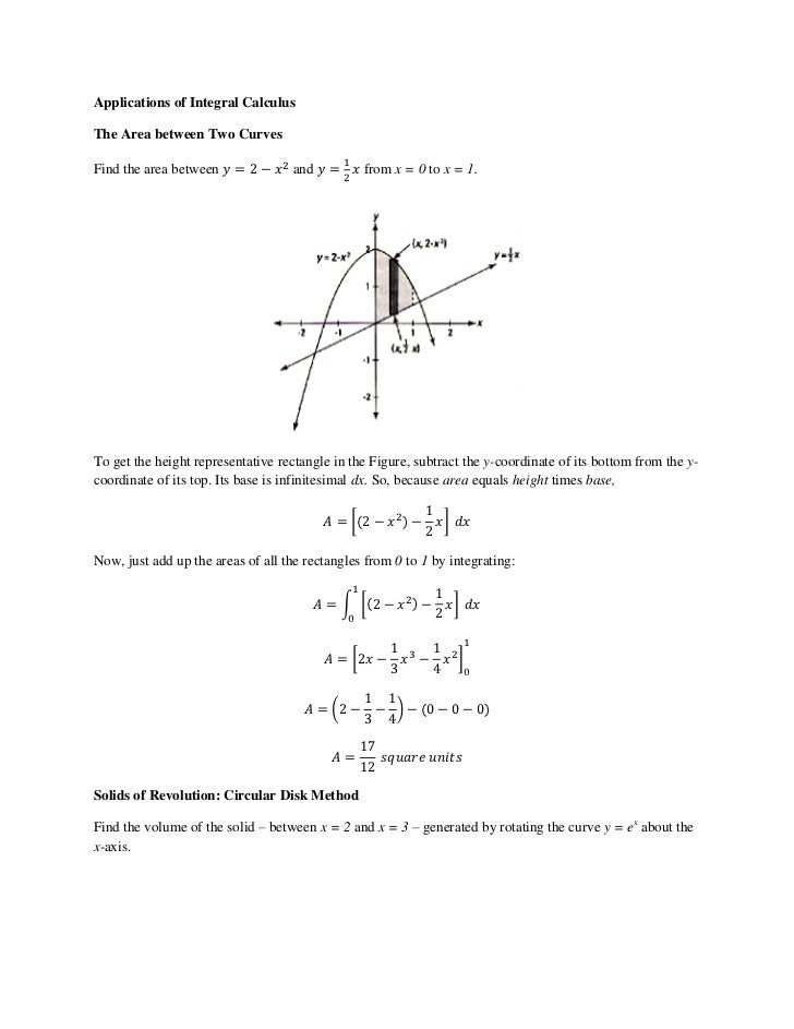 applications of integral calculus Chapters: 1: introduction to calculus, 2: derivatives, 3: applications of the derivative, 4: the chain rule, 5: integrals, 6: exponentials and logarithms, 7.