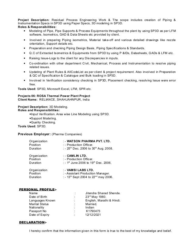 Piping material engineer resume