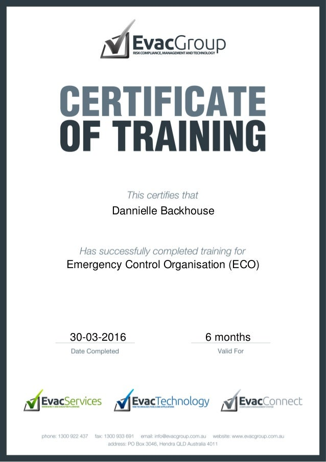 Certificate Of Training Emergence Control Organisation Eco