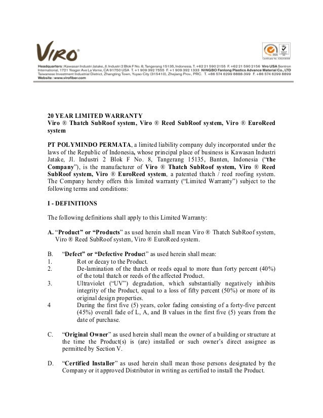 010 warranty letter of viro thatch for Roofing warranty certificate template free