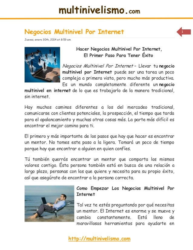 multinivelismo.com Negocios Multinivel Por Internet Jueves, enero 30th, 2014 at 8:59 am  Hacer Negocios Multinivel Por Int...