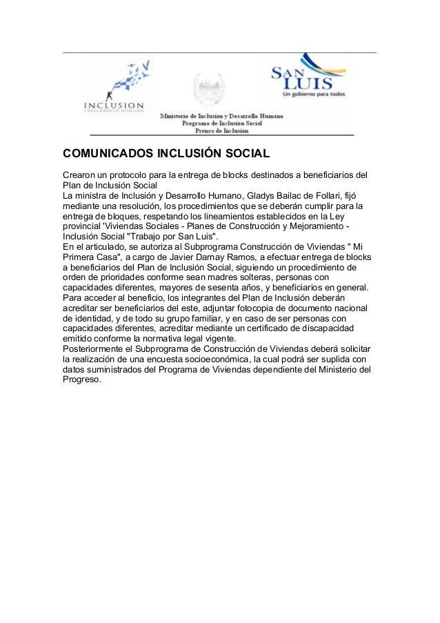 COMUNICADOS INCLUSIÓN SOCIAL Crearon un protocolo para la entrega de blocks destinados a beneficiarios del Plan de Inclusi...