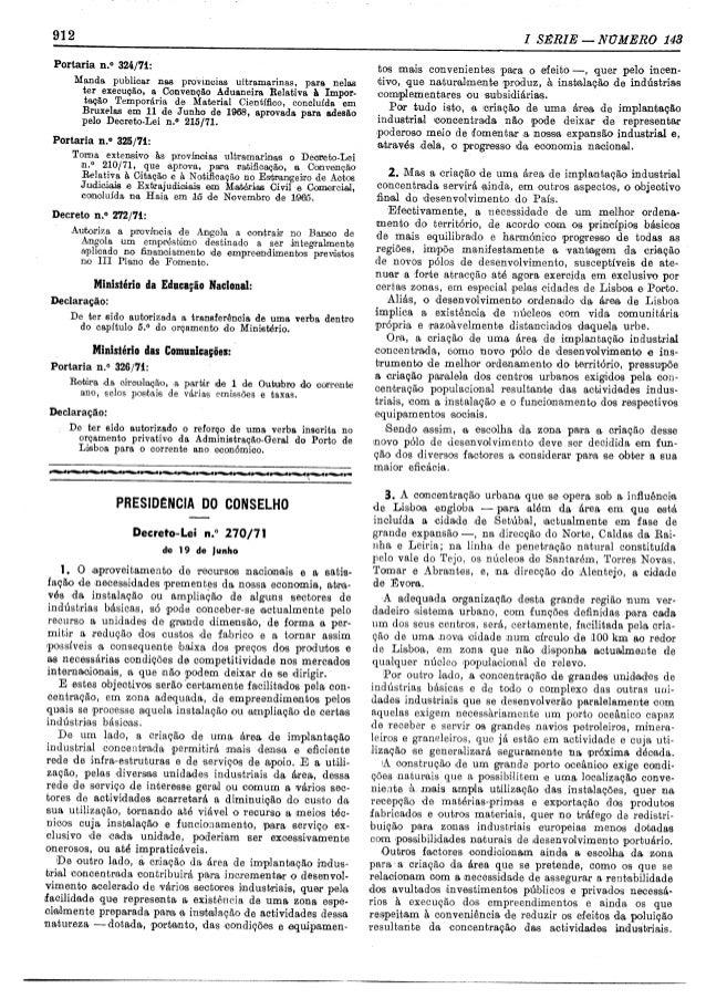 GABINETE DA ÁREA DE SINES - Decreto-lei 270/71, de 19 de Junho