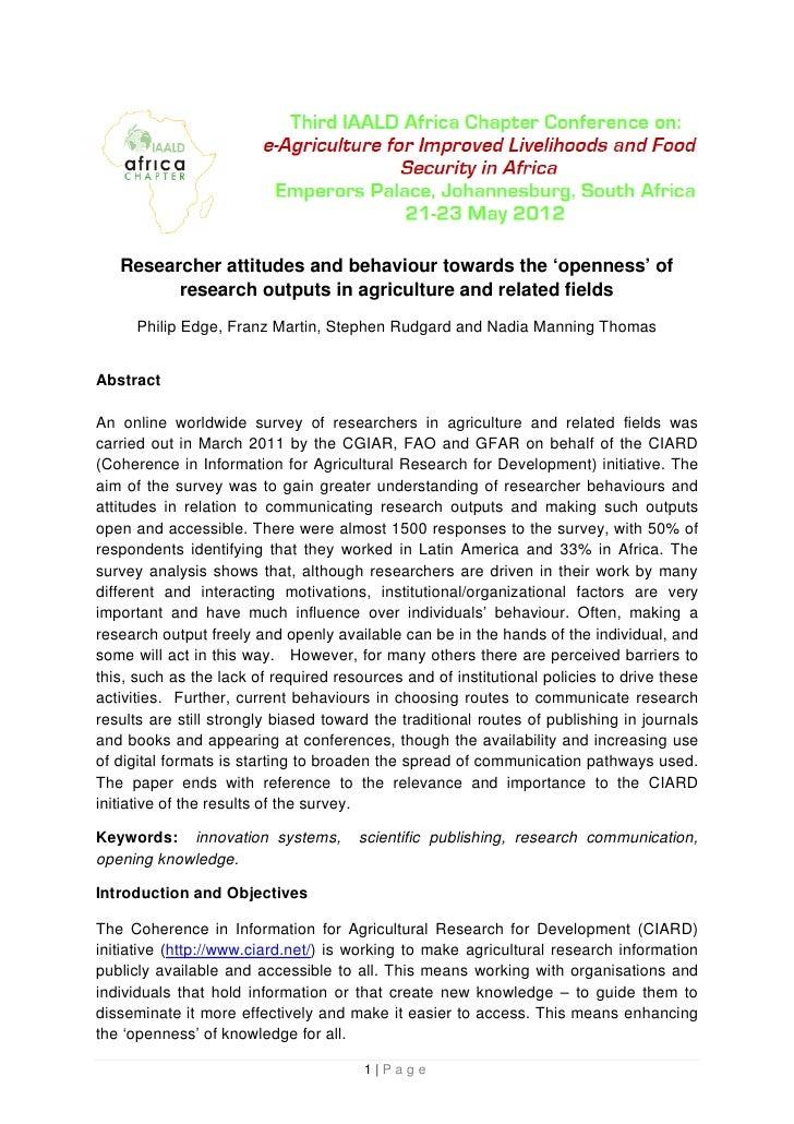Researcher attitudes and behaviour towards the 'openness' of         research outputs in agriculture and related fields   ...