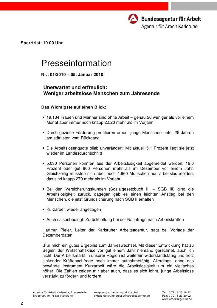 Sperrfrist: 10.00 Uhr            Presseinformation            Nr.: 01/2010 – 05. Januar 2010              Unerwartet und e...