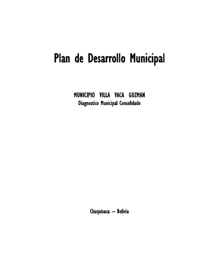 Plan de Desarrollo Municipal     MUNICIPIO VILLA VACA GUZMAN      Diagnostico Municipal Consolidado            Chuquisaca ...