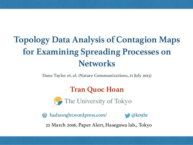 Topology Data Analysis of Contagion Maps for Examining Spreading Processes on Networks Tran Quoc Hoan @k09hthaduonght.word...