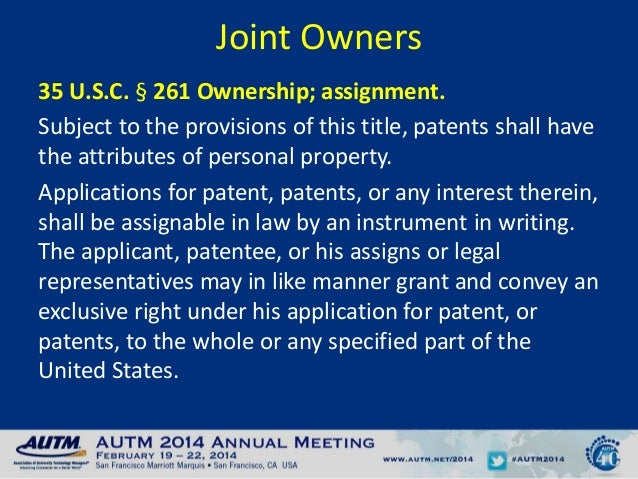 Patents Shall Have The Attributes Of Personal Property