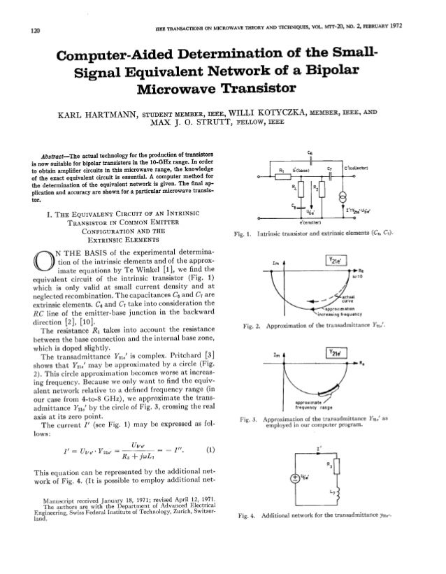 IESE TRANSACTIONS  120  Computer-Aided Signal  KARL  ON MfCROWAVE  THEORY  AND  TSCHNIQUES,  Determination  Equivalent Mic...