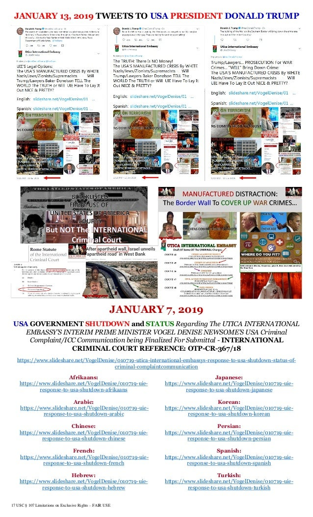 17 USC § 107 Limitations on Exclusive Rights – FAIR USE JANUARY 13, 2019 TWEETS TO USA PRESIDENT DONALD TRUMP JANUARY 7, 2...