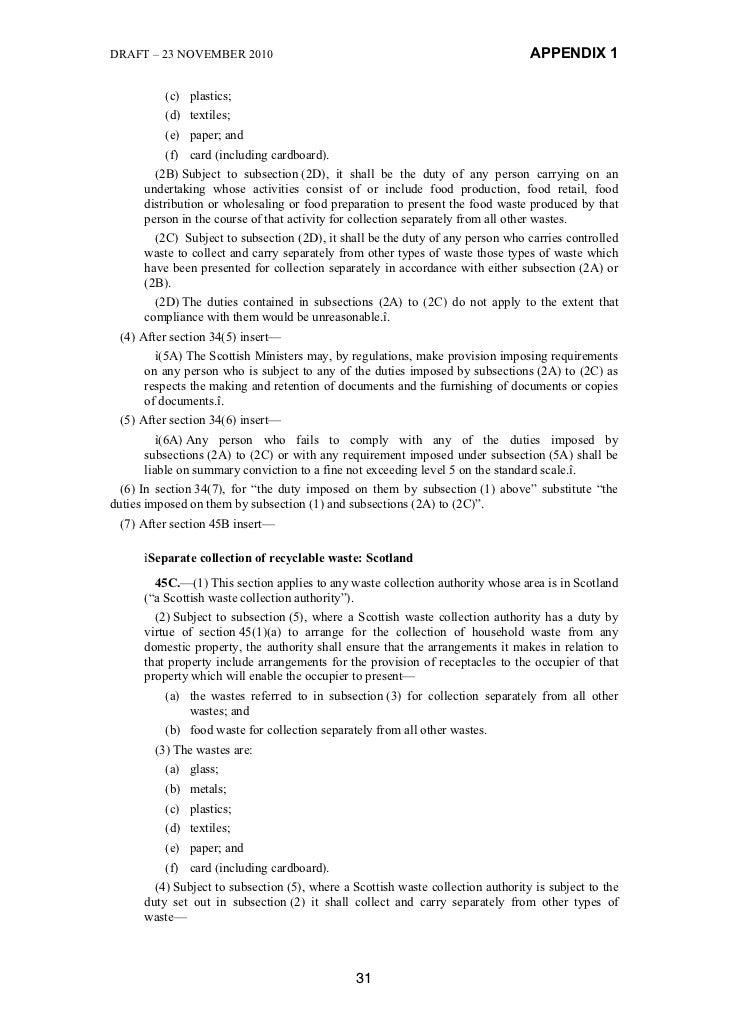 DRAFT – 23 NOVEMBER 2010                                                          APPENDIX 1          (c) plastics;       ...